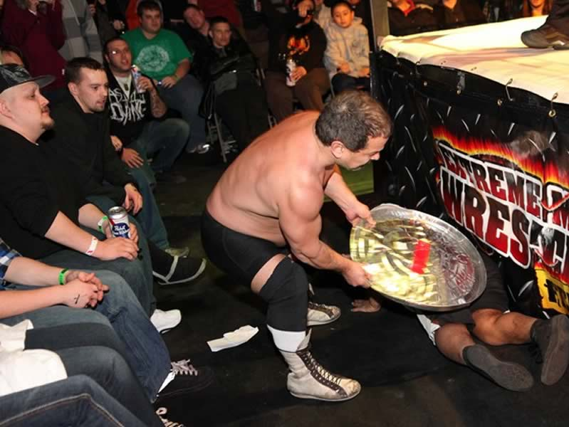 Extreme Midget Wrestlers Trash Can Lid Smash