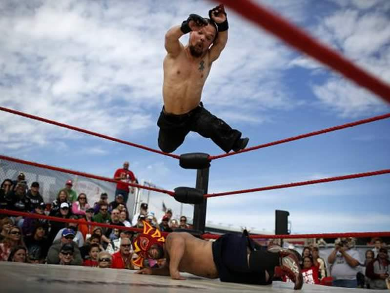Midget Wrestler Mike Hawk Diving Off Top Ropes